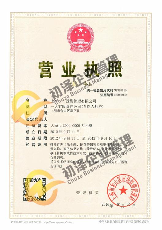 上海投资管理公司注册